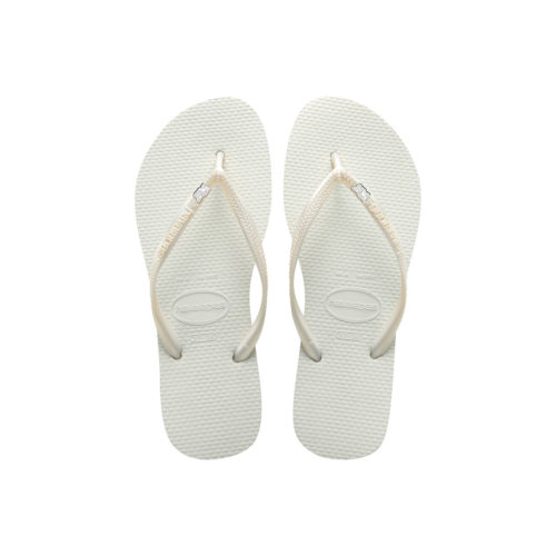 Havaianas White Slim Flip Flops with Silver White Mother of the Bride Pin