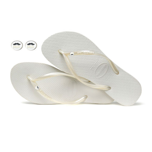 Havaianas White Flip Flops with Mr and Mr Silver Wedding Charm