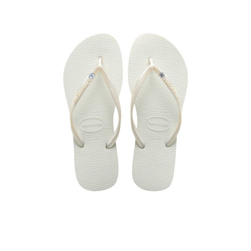 Havaianas White Flip Flops with Silver Mr & Mrs Wedding Charm Gift