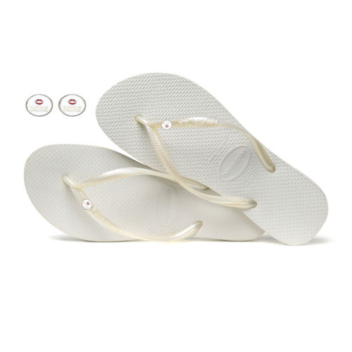 Havaianas White Flip Flops with Silver Mrs & Mrs Wedding Charm Gift