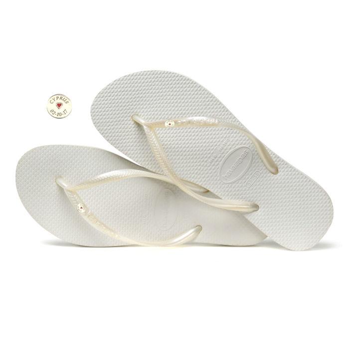 Havaianas Slim White Flip-Flops with Silver Charm Personalised Wedding
