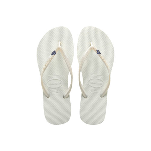 Havaianas White Flip Flops with The Groom Silver & Navy Wedding Charm