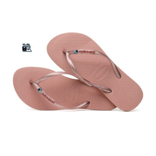 Havaianas Rose Metallic Flip-Flops with Silver Bride & Groom Wedding Pin