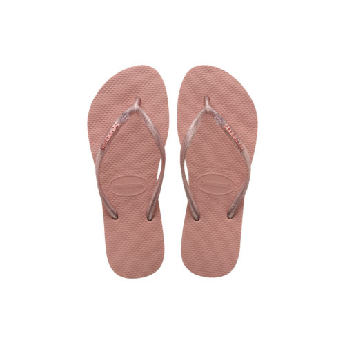 Havaianas Rose Metallic Flip-Flops with Pink Glitter Bride Squad Charm
