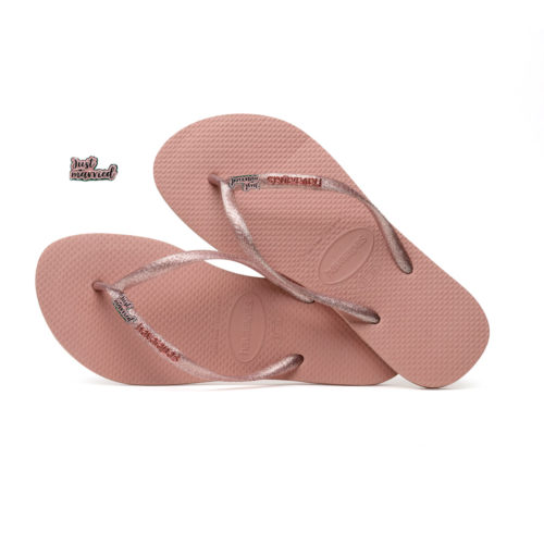 Havaianas Slim Rose Metallic Flip-Flops with Pink Glitter Just Married
