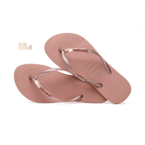 Havaianas Slim Rose Metallic Flip-Flops with Rose Gold Just Married