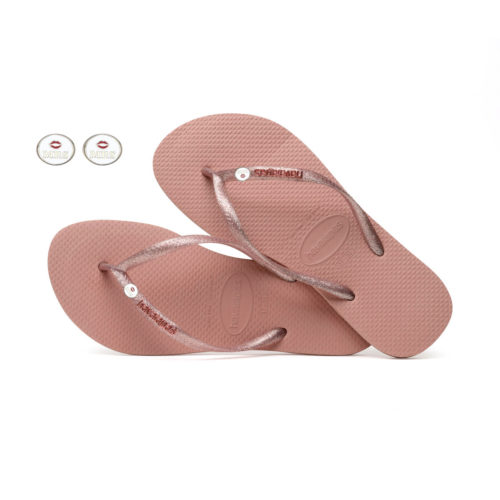 Havaianas Rose Metallic Flip-Flops with Silver Mrs and Mrs Wedding Pin