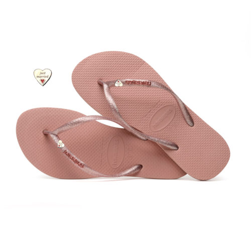 Havaianas Slim Rose Metallic Flip-Flops with Silver Heart Personalised