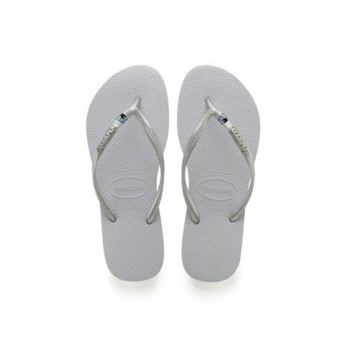 Havaianas Silver Metallic Flip-Flops with Silver Bride & Groom Wedding