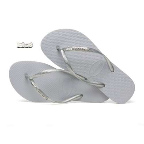 Havaianas Slim Silver Metallic Flip-Flops with Silver & White Bridesmaid