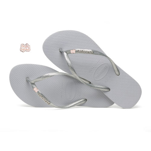 Havaianas Silver Metallic Flip-Flops with Rose Gold Bride Squad Charm