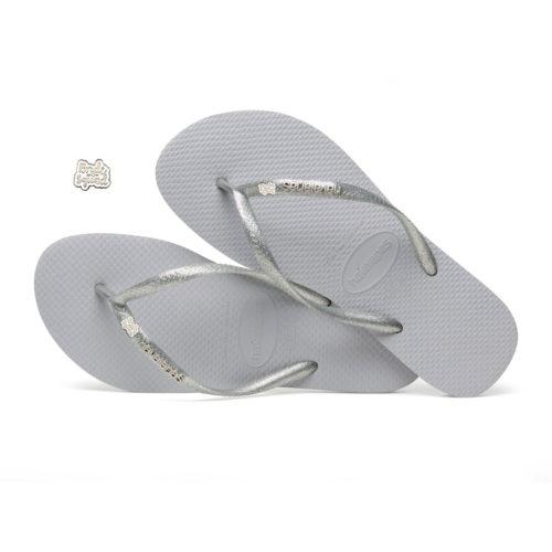 Havaianas Slim Silver Metallic Flip-Flops with Silver Bride Squad Charm