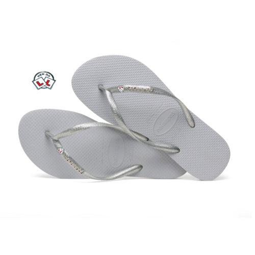 Havaianas Slim Silver Metallic Flip-Flops with Hen Do Charm Personalised