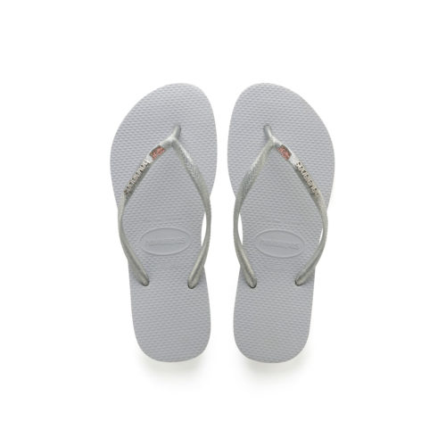 Havaianas Silver Metallic Flip-Flops with Pink Glitter Mother of the Bride