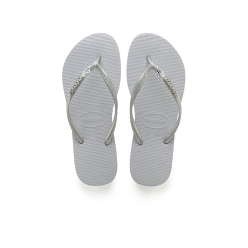 Havaianas Silver Metallic Flip-Flops with Silver Mr & Mrs Charm Wedding