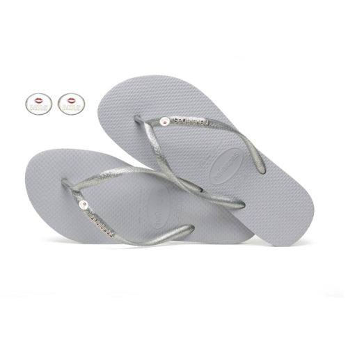 Havaianas Silver Metallic Flip-Flops with Silver Mrs & Mrs Charm Wedding