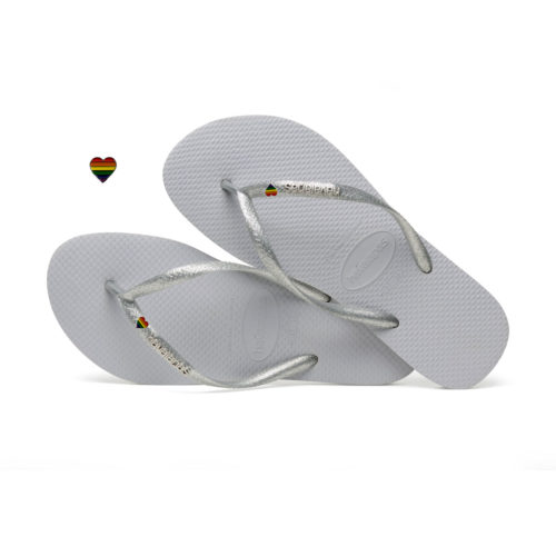 Havaianas Slim Silver Metallic Flip-Flops with Pride Charm Personalised