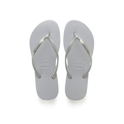 Havaianas Slim Silver Metallic Flip-Flops with Silver Personalised Wedding
