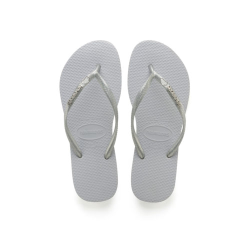 Havaianas Slim Silver Metallic Flip-Flops with 'The Bride' Charm Wedding