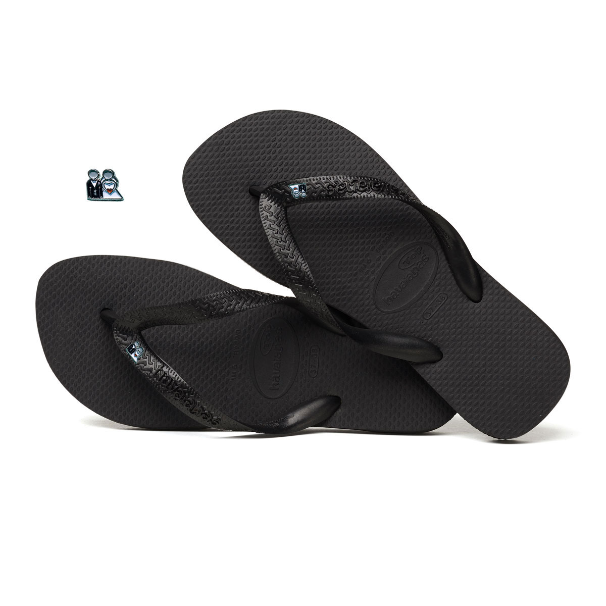 Silver Bride & Groom Charm Havaianas Top Black Wedding Flip Flops