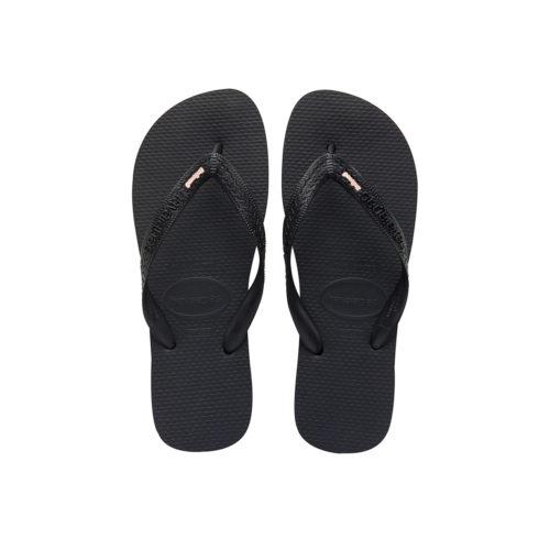 Havaianas Heel Black Flip-Flops with Rose Gold 'Bridesmaid' Charm