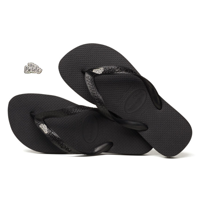 White Glitter 'The Bride' Havaianas Top Black Wedding Flip Flops