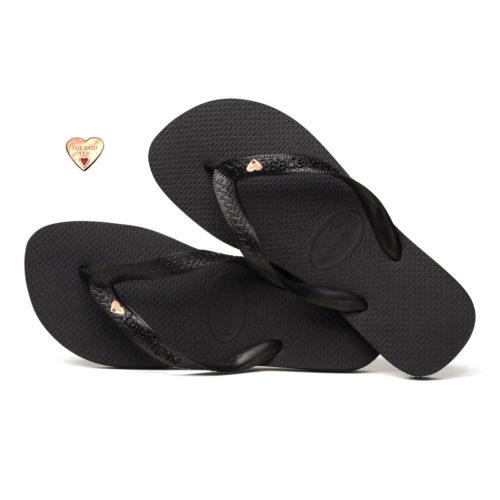 Rose Gold Heart Charm Havaianas Black Wedding Flip Flops Personalised