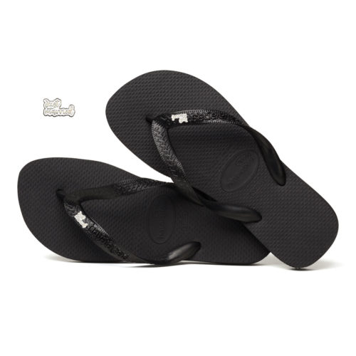 Silver & White 'Just Married' Charm Havaianas Black Wedding Flip Flops