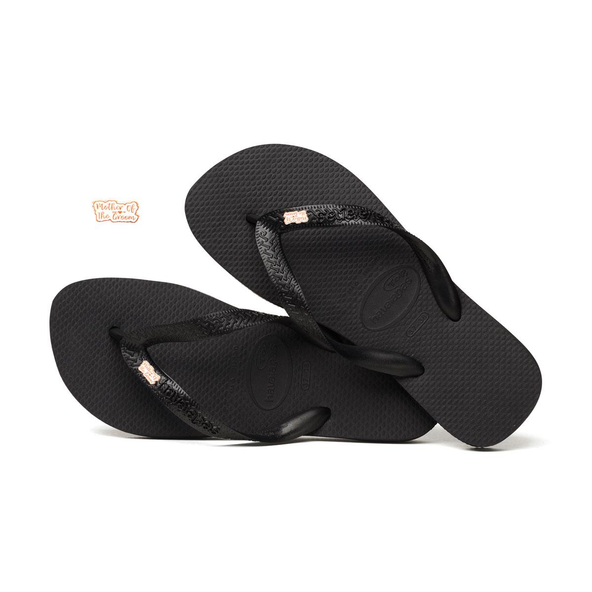 Rose Gold Mother of the Groom Pin Havaianas Black Wedding Flip Flops