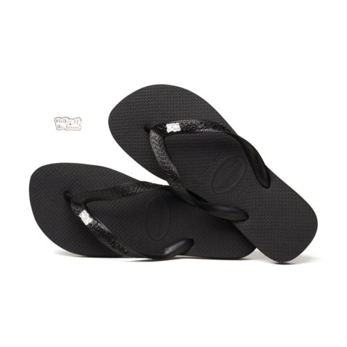 Silver Mother of the Groom Charm Havaianas Black Wedding Flip Flops