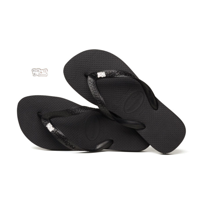 Silver Mother of the Groom Charm Havaianas Black Wedding Flip Flops