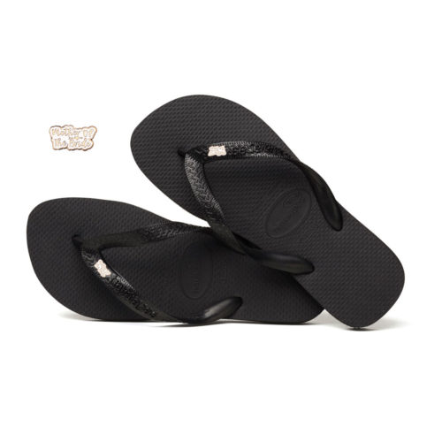 Rose Gold Mother of the Bride Charm Havaianas Black Wedding Flip Flops