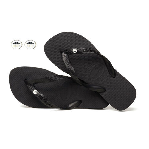 Mr and Mr Silver Charm Havaianas Top Black Wedding Gift
