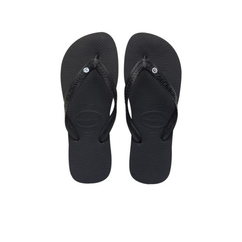 Silver Mr & Mrs Charm Havaianas Top Black Wedding Flip Flops