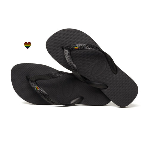 Havaianas Black Top Flip-Flops with Pride Heart LGBT Personalised