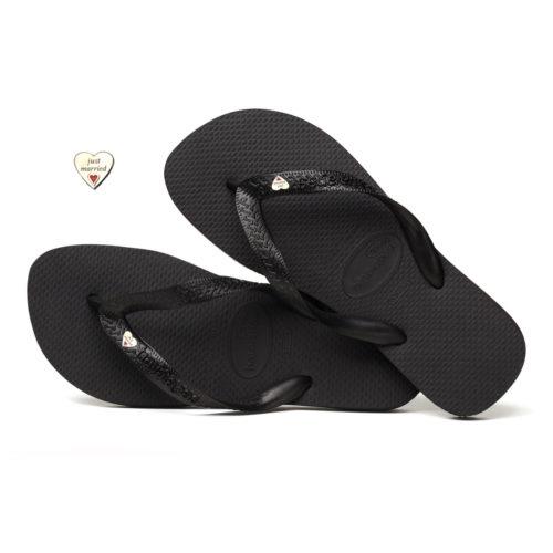 Silver Heart Charm Havaianas Black Wedding Flip Flops Personalised