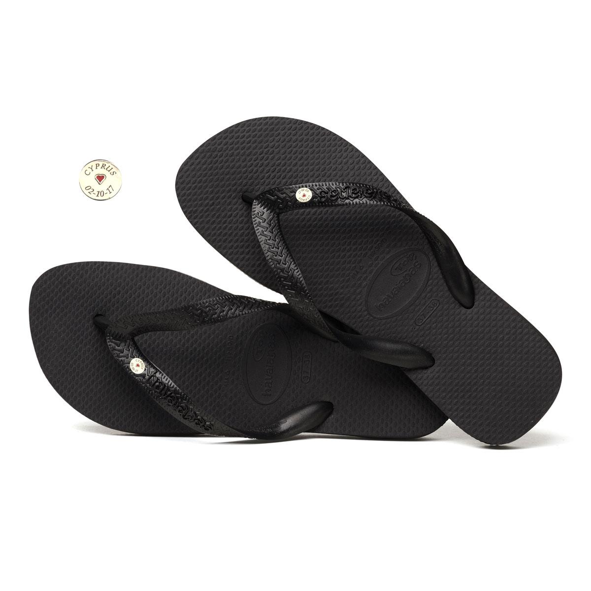 Round Silver Charm Havaianas Black Wedding Flip Flops Personalised