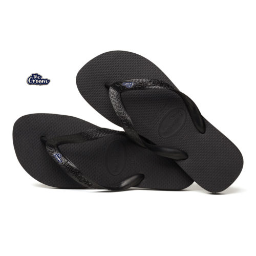 The Groom Silver & Navy Charm Havaianas Top Black Wedding Gift