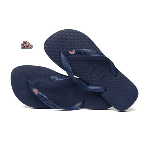 Silver Pink 'The Bride' Havaianas Top Navy Wedding Flip Flops