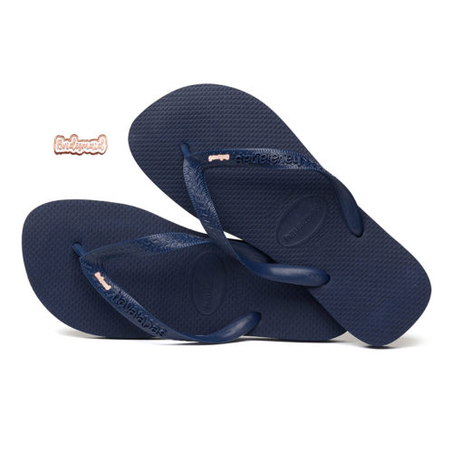 Havaianas Heel Black Flip-Flops with Rose Gold 'Bridesmaid' Charm