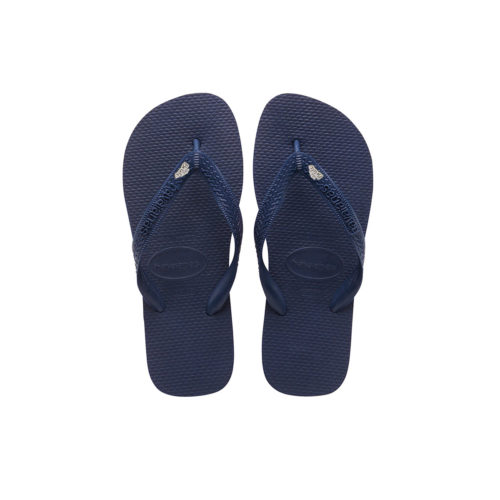 White Glitter 'The Bride' Havaianas Top Navy Wedding Flip Flops