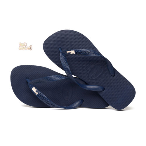 'Just Married' Rose Gold Charm Havaianas Top Navy Wedding Flip Flops