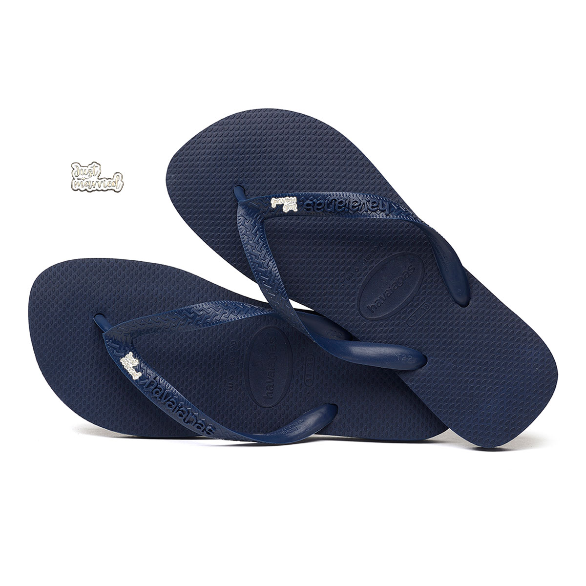 'Just Married' Silver White Charm Havaianas Top Navy Wedding Flip Flops