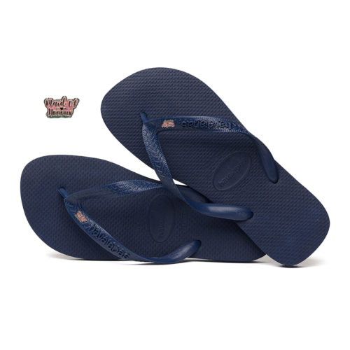 Silver & Pink Glitter Maid of Honour Charm Havaianas Top Navy Wedding