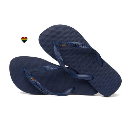 Havaianas Navy Top Flip-Flops with Pride Heart LGBT Personalised