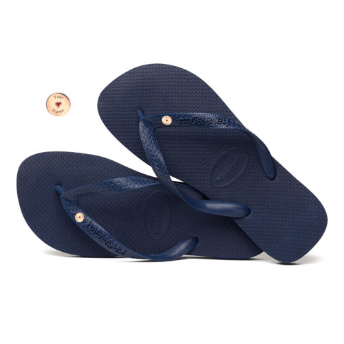 Round Rose Gold Charm Havaianas Top Navy Wedding Flip Flops