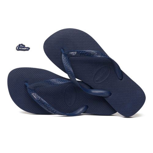 The Groom Silver & Navy Charm Havaianas Top White Wedding Gift