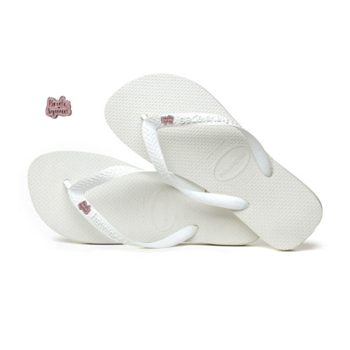 Bride Squad Silver & Pink Glitter Charm Havaianas White Wedding Gift