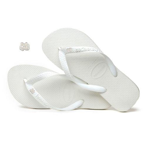 Bride Squad Silver & White Charm Havaianas Top White Wedding Gift