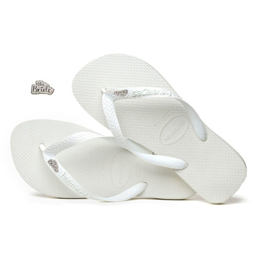 White Glitter 'The Bride' Havaianas Top White Wedding Flip Flops